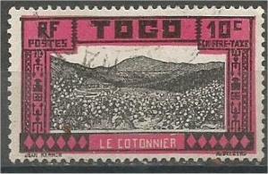 TOGO, 1925, used 10c, Cotton Fields Scott J12