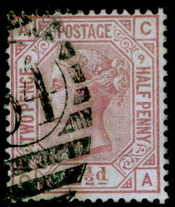 SG141, 2½d rosy mauve plate 9, USED. Cat £85. CA