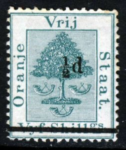 ORANGE FREE STATE 1882 ½d. Surcharge on 5 Shillings Green SG 36 MINT