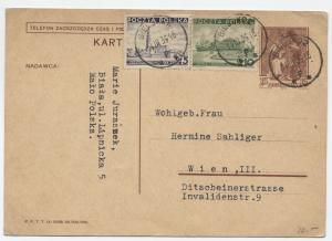 1939 Poland postal card to Vienna with two added stamps [y1832]