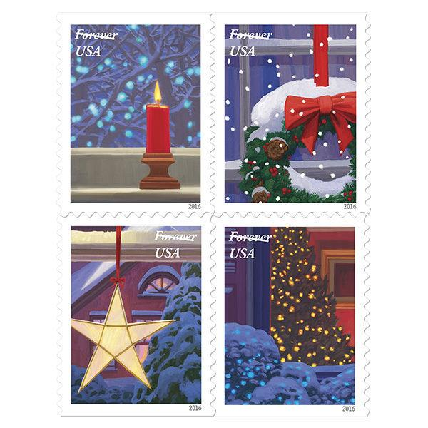 2016 47c Holiday Windows, Winter Nights, Block of 4 Scott 5145-48 Mint F/VF NH