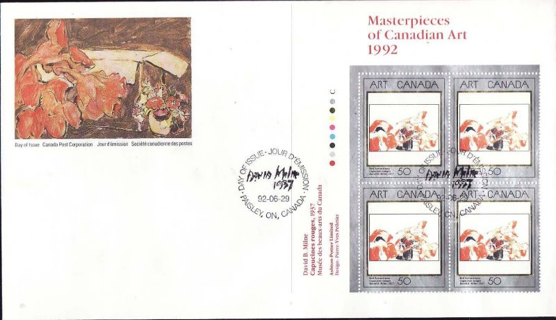 Canada-Sc#1419-stamps on FDC-UL plate block-Canadian Art-1992-
