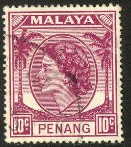 MALAYA PENANG 1954-55 QE2 10c Portrait Issue Sc 35 VFU
