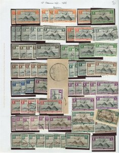 EGYPT;  1933-38 early AIRMAILS fine Duplicated Mint & USED LOT of values