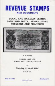 Revenue Stamps and Documents, Robson Lowe Sale,  April 1980