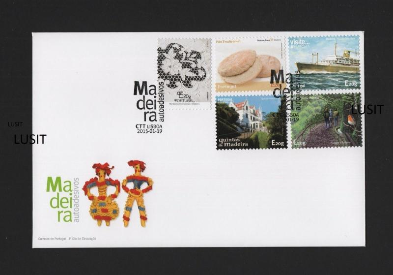 PORTUGAL FDC label stamp 2015 CEPT EUROPA MADEIRA BIRD EMBROIDEREY SHIP BREAD z1