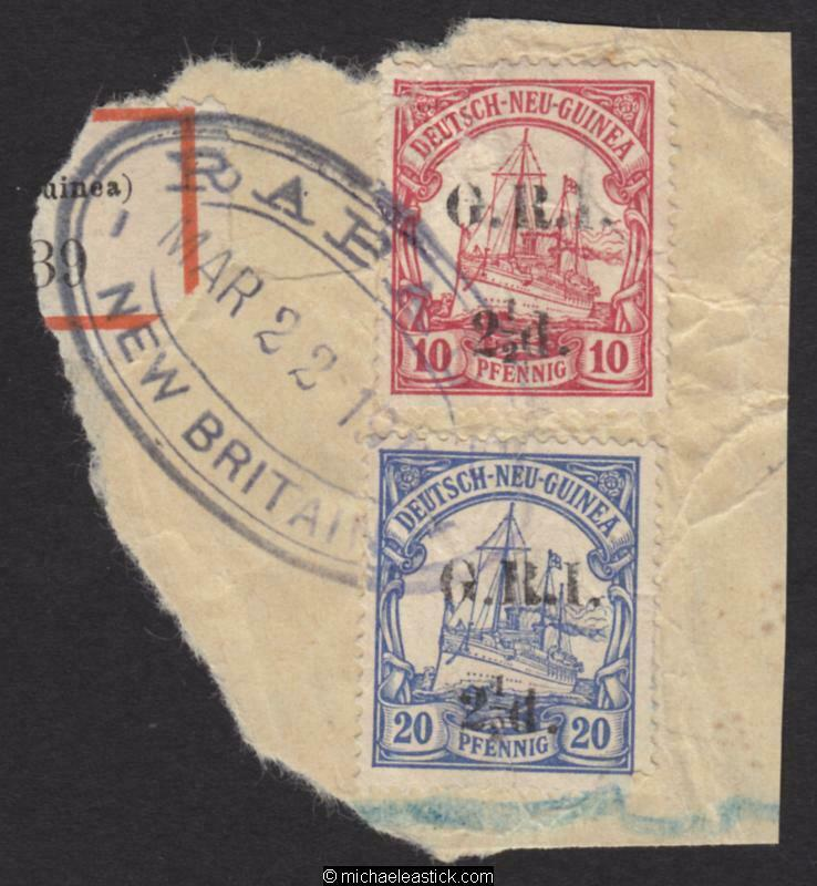 1914 New Guinea 2½d GRI overprint on 10pf and 2½d on 20pf, SG 5 & 6, on piece