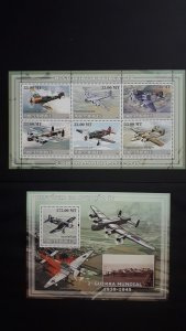 Airplanes - History of Aviation 4 - Mozambique 2009 - Complete SS + Bl ** MNH