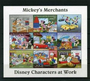 ST.VINCENT 1996 DISNEY MICKEY,S MERCHANTS SHEET OF 9 STAMPS MNH
