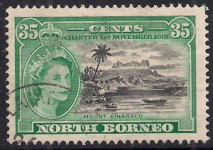 North Borneo 1956 QE2 35ct Mount Kinabalu Used SG 389 ( B46 )