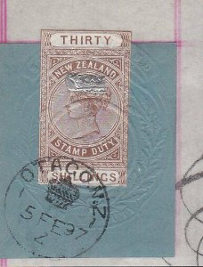 NEW ZEALAND 1880 LONG TYPE STAMP DUTY 30/- used on piece - Otago cds........J192