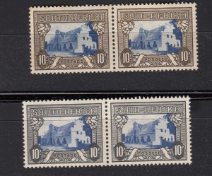 J28447, 1933-54 south africa mh/mnh bottom pair #67 perf 14 buildings 2 shades