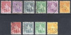 Trinidad 1863 1d-1s Perf 12.5&14 Wmk CC SG 69-78 Scott 48-61 VFU Cat £58($76)