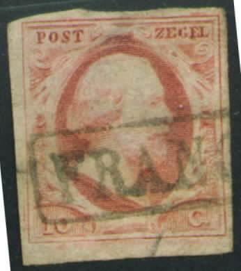 Netherlands Scott 2 nice 1852 Franco bloc cancel thin CV$24