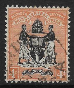 NYASALAND SG23 1895 4d BLACK & REDDISH BUFF USED