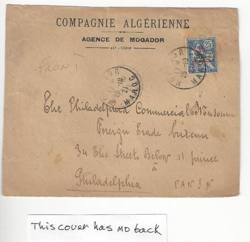 1921 French Morocco To USA Cover With Better Scott # 18 - Front Only (AB12)