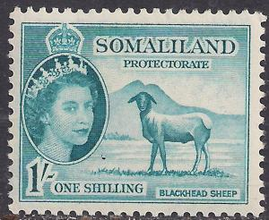 Somaliland 1953 - 58 QE2 1/-d Light Blue MM SG 144 ( R1029 )