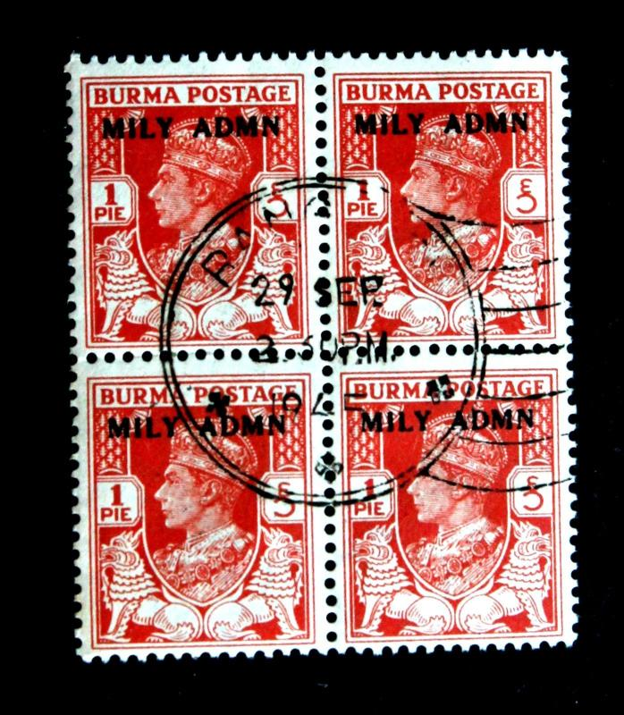 Stamp Burma SC# 35 CTO SON 1p Red Orange Early Issue of 1945 Mily Admn Overprint