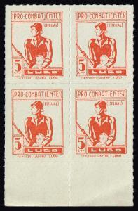 SPAIN STAMP LUGO Civil War War Period Local Stamp 5C ORANGE MNH BLK OF 4