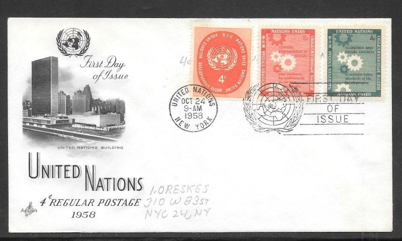 Just Fun Cover United Nations #63,65,66, FDC Artcraft Cachet (my5604)