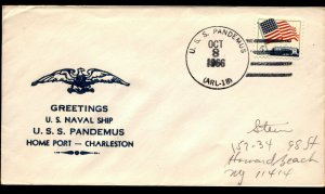 USS PANDEMUS ARL18 1966 US Naval Cachet Cover Home Port - Charleston Greetings