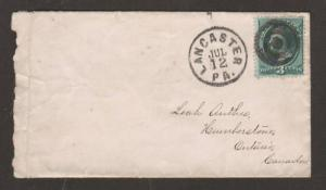 US Sc 158 on 1875 cover Lancaster, Pennsylvania to Canada West