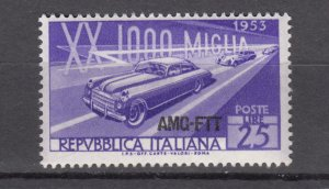 J27607 1953 italy-trieste set of 1 mh #166 sports ovpt