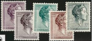 Luxembourg Grand Duchess Charlotte #369 - 373 VF MNH Cat $10.25