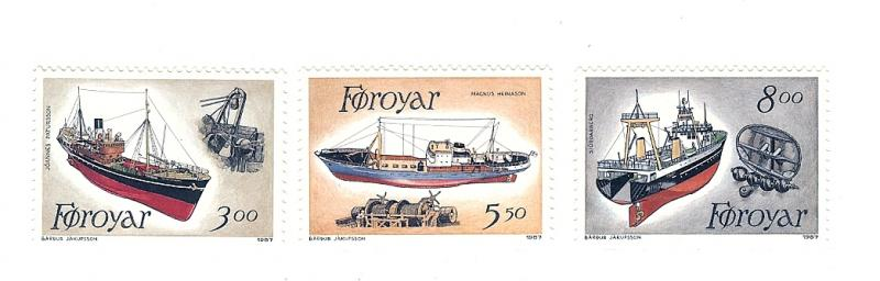Faroe Islands, 158-60, Fishing Trawlers / Ships,Singles, MNH