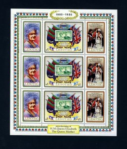 LESOTHO QE II 1980 Queen Mother 80th Birthday Mini-Sheet SG 423 to SG 425 MNH