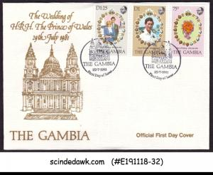 GAMBIA - 1981 ROYAL WEDDING OF PRINCE CHARLES - 3V - FDC