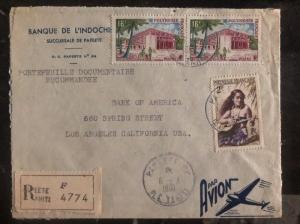1961 Papeete Tahiti French Polynesia Cover To Bank Of America Los Angeles USA D