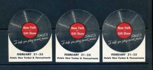 3 VINTAGE NEW YORK GIFT SHOW EXPO POSTER STAMPS (L877) RECORD 'PLAY SWEET MUSIC'