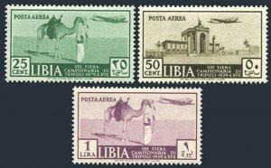 Libya C36-C38,MNH. Mi 102-104. Fair Tripoli 1939.City,Ghadames,Arab,Camel,Plane.