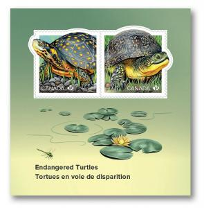 New! TURTLE = ENDANGERED species = Souvenir Sheet of 2 stamps MNH-VF Canada 2019