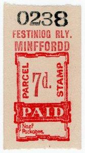 (I.B) Festiniog Railway : Parcel Stamp 7d (Minffordd)