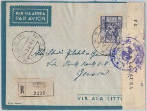 53675 - ITALIA COLONIE: LIBIA -  Sass 107 ISOLATO su BUSTA RACCOMANDATA 1942