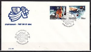 Iceland, Scott cat. 669-670. Christmas Art issue. First day cover. ^