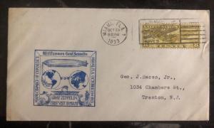 1933 Miami FL USA First Day Cover FDC To Trenton NJ Graf Zeppelin Visit