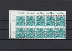 DDR 1953 Five Year Plan 80 PF Stamps Block Ref 27018