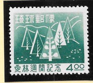 RYUKYU Scott #35 Mint NH 4 Yen Stylized Trees 2018 CV $10.00