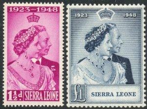 SIERRA LEONE-1948 Royal Silver Wedding Set Sg 203-204 UNMOUNTED MINT V37529