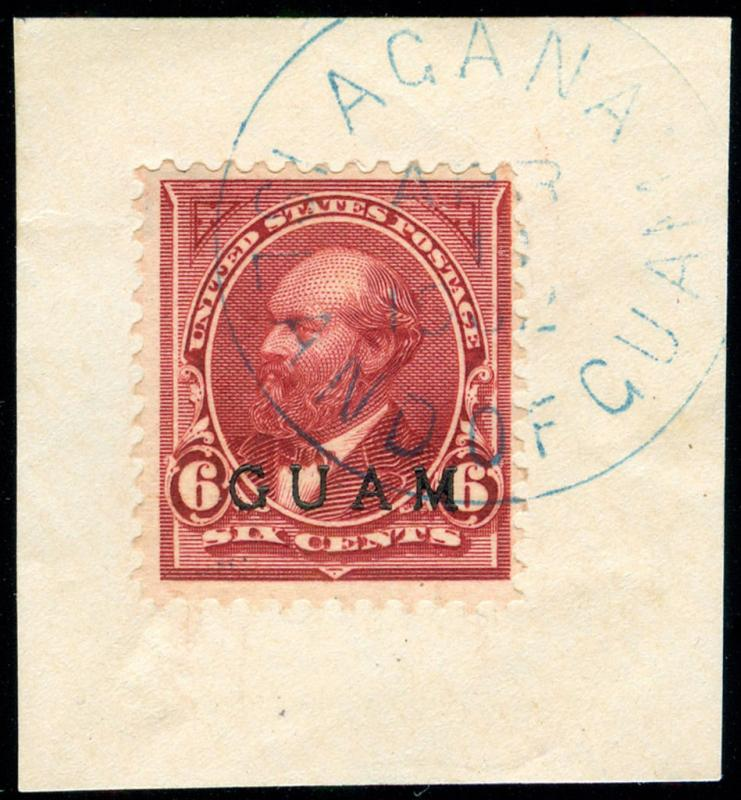 momen: US Stamps #6 GUAM USED AGANA ON PIECE
