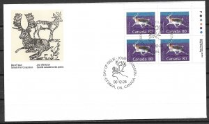 1990 Canada Sc1180 80¢ Peary Caribou PB4 FDC
