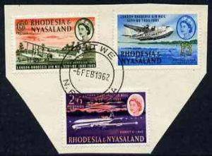 Rhodesia & Nyasaland 1962 Airmail Service set of 3 ve...