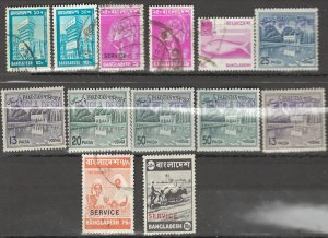 COLLECTION LOT # 2646 BANGLADESH 13 STAMPS 1947+ CLEARANCE LOCAL OVERPRINTED