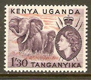 Kenya,Uganda & Tanzania #113 NH 1.30sh Elephants Def.