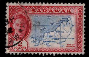 SARAWAK Scott 193 Used  creased stamp