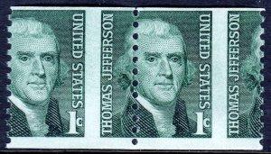 USA — SCOTT 1299 — 1¢ JEFFERSON COIL — MISPERFED PAIR