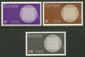 IRELAND Sc#279-281 1970 Europa Issue Complete Set OG Mint NH